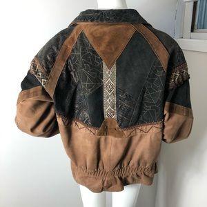 Boho Tapestry Vintage Leather Jacket 80's Patch